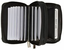 Genuine Leather Credit Card Holder Wallet Accordion Double Zipper with Id window