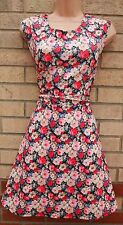 PRIMARK MULTICOLORED MULTI BANDAGE SKATER FLARE PROM PARTY VTG  FLORAL DRESS 18