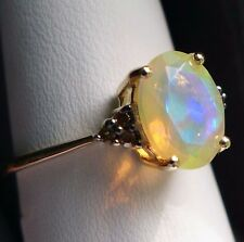 Ethiopian Opal & Diamond 10K Gold Ring, Size 7, 1.12Ct ,Certificate
