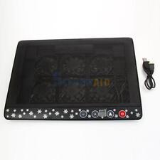 "12""-17"" Laptop Notebook LED Light 6 Fans 2 USB Port Cooling Cooler Pad Stand"