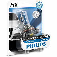 Philips White Vision H8 40% Whiter Light Headlight Bulb (Single) 12360WHVB1