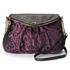 * JUICY COUTURE $79 NWT  cross body rose grape leopard women's purse traveler