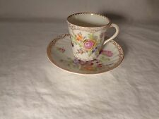 BEAUTIFUL DRESDEN PORCELAIN HP DRESDEN FLOWERS GOLD DEMI CUP & SAUCER  -   NR