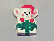 """Avon Christmas Mouse in a Present 1 1/2"""" Lapel Pin 1981"""