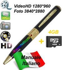 SPY PEN GOLD HD PENNA SPIA MICROSPIA VIDEOCAMERA FOTOCAMERA NASCOSTA+MICROSD 4GB