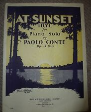 At Sunset Idyl for Piano Solo by Paulo Conte 1940s music sheet