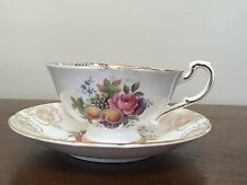 Paragon Bone China E68B Fruit & Flowers Footed Tea Cup & Saucer Set ~ England