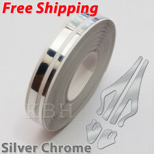"1/2"" Streamline Pin Stripe Pinstriping 12mm Tape Vinyl Sticker Car Silver Chrome"