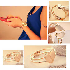 Sale Women Fashion Jewelry 18K Gold Filled Cuff Bangle Love Heart Charm Bracelet