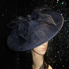 NAVY BLUE DISC FASCINATOR HAT WEDDING OCCASION FORMAL MOTHER OF THE BRIDE RACES