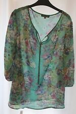 Pretty Laura Ashley Sheer Floaty Top / Blouse Green with Floral Design Size 18