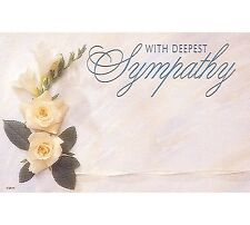 """50ct. ROSE FLOWER """"Deepest Sympathy"""" Blank Florist Enclosure Cards Small Tags"""