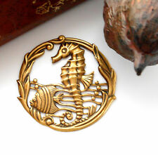 ANTIQUE BRASS Under The Sea Round SEAHORSE Stamping ~ Jewelry Finding (E-26)