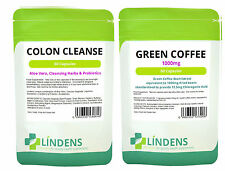 60 Green Coffee Bean Extract 1000mg & 60 Detox Colon Cleanse Diet Slim Pills Fat