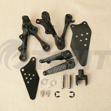 Front Rider Footrest Foot Pegs Bracket For 09-14 10 11 KAWASAKI NINJA ZX6R Black