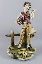 Capodimonte Luciano Cazzola Figurine Boy Picking Mushrooms MINT WorldWide