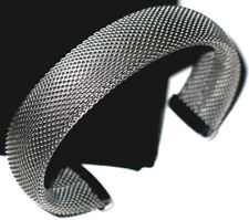 100% Solid Stainless Steel Covered Mesh Cuff Bangle Silver Metal Bracelet
