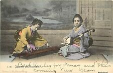 c1906 Hand-Colored Postcard Japanese Girl Musicians Shamisen & Koto Rotograph
