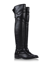 $2945 DOLCE & GABBANA Boots Black Leather Sculptured Over-Knee Flat Bootie 36.5