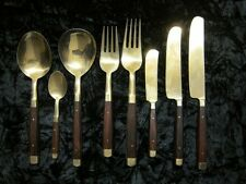 Vintage Rosewood Bronze/Brass 47pc boxed cutlery set