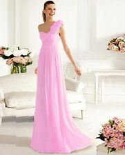 US 4 Pink One Shoulder Long Formal Bridesmaid Wedding Evening Party Prom Dresses