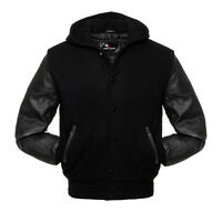Varsity Hoodie Wool Letterman Jacket Black & Black Real Leather Sleeves