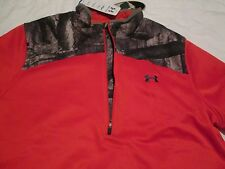 BRAND NEW Womens UNDER ARMOUR MOSSY OAK CAMO/Orange 1/4 Zip XL FREE SHIPPING!