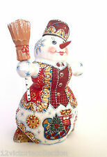 Adorable SNOWMAN Wood Hand Carved Hand Painted Santa 's Friend