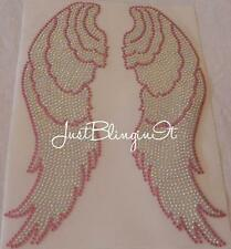 Angel Wings XL Pink and AB Hot Fix Iron On Rhinestone Transfer Bling MADE IN USA