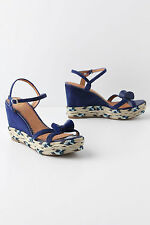 NIB Anthropologie MISS ALBRIGHT Coiled Cobalt Wedges, SZ 9.5