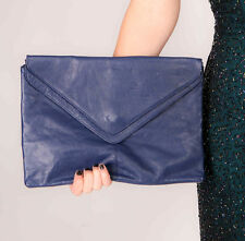 oversized vintage navy blue soft leather envelope clutch bag