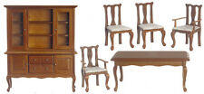 Dollhouse Miniature Dining Room Set Table Chairs China Cabinet Walnut 1:12 Scale