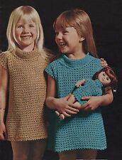 Crochet pattern filles robe/tunique & matching poupées robe.