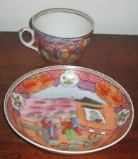 NEW HALL CUP & SAUCER BOWL ORIENTAL COLOURFUL PAINTED DESIGN CIRC AROUND 1800