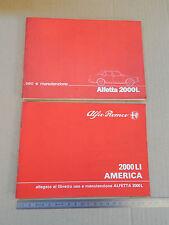ALFA ROMEO ALFETTA 2000L 2000 Li AMERICA 1981 MANUALE USO MANUTENZIONE ORIGINALE