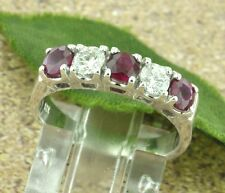 1.11 ct LADIES RUBY & DIAMOND RING WHITE GOLD  14k 5 STONES MADE IN USA