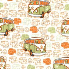 Michael Miller Fabric - We come in Peace - Kryptonite - Cotton VW camper van