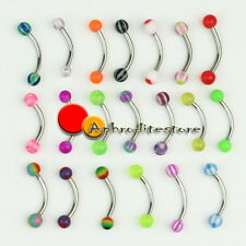 20pcs Hot Sell Ball Eyebrow Rings Stainless Steel Barbell Curved Bars Piercing