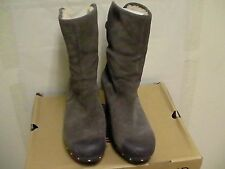 Women's Ugg Lynnea wood clog boots Grey Leather size 11