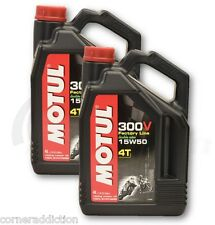 Motul 300V 4T Full Synthetic Motorcycle Oil 15W-50 8 Liter liter 2 one US gallon