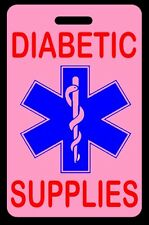 Pink DIABETIC SUPPLIES Luggage/Gear Bag Tag - FREE Personalization - New
