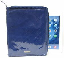 $475 Burberry Check Embossed Patent Leather iPad Cover Case Zip Blue Men Women