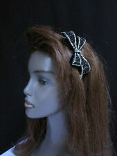 NEW WOMEN BLACK SILVER RHINESTONES BIG BOW FASHION HEADBAND HAIR ACCESSORIES