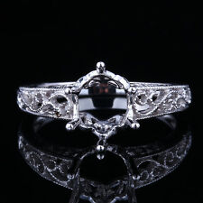 VINTAGE STERLING SILVER 925 FILIGREE SEMI MOUNT ENGAGEMENT RING 7x9mm Oval Cut