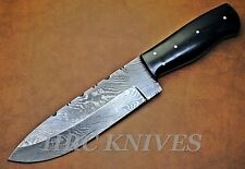 "DA6 ~ 10"" CUSTOM HRC DAMASCUS HUNTER SKINNER TRACKER KNIFE W/ BUFFALO HORN - USA"
