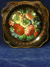 """Russian Zhostovo Metal Tray 10"""" Square, hand painted , signed by artist   851-50"""