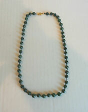 """ESTATE CHINESE 22"""" SPINACH GREEN JADE 5.5mm BEAD NECKLACE wiht 14K GOLD CLASP"""