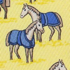 100% REAL HERMES TIE ~ YELLOW w FUN WHIMSICAL LOVING HORSES IN BLUE BLANKETS