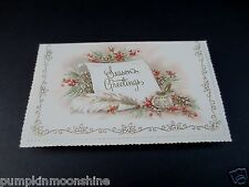 #J491- Vintage Unused Glitter Xmas Greeting Card Pretty Ink Well & Feather Pen