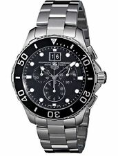 New Tag Heuer Aquaracer Grande Date Chronograph 43mm Black Watch CAN1010.BA0821